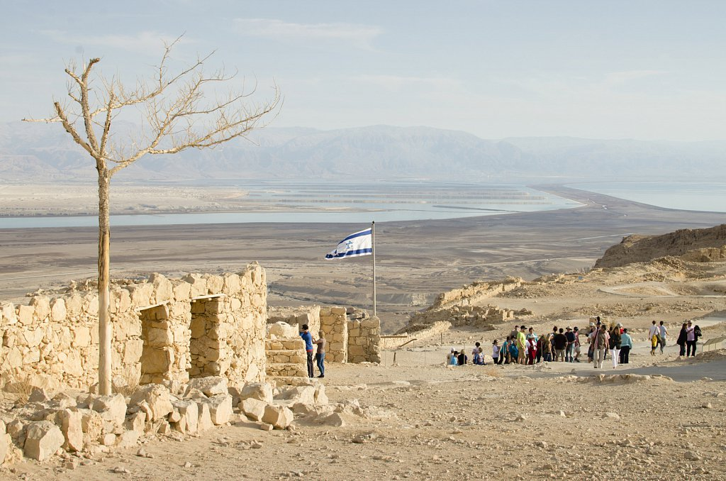 Masada fortress with Dead Sea
