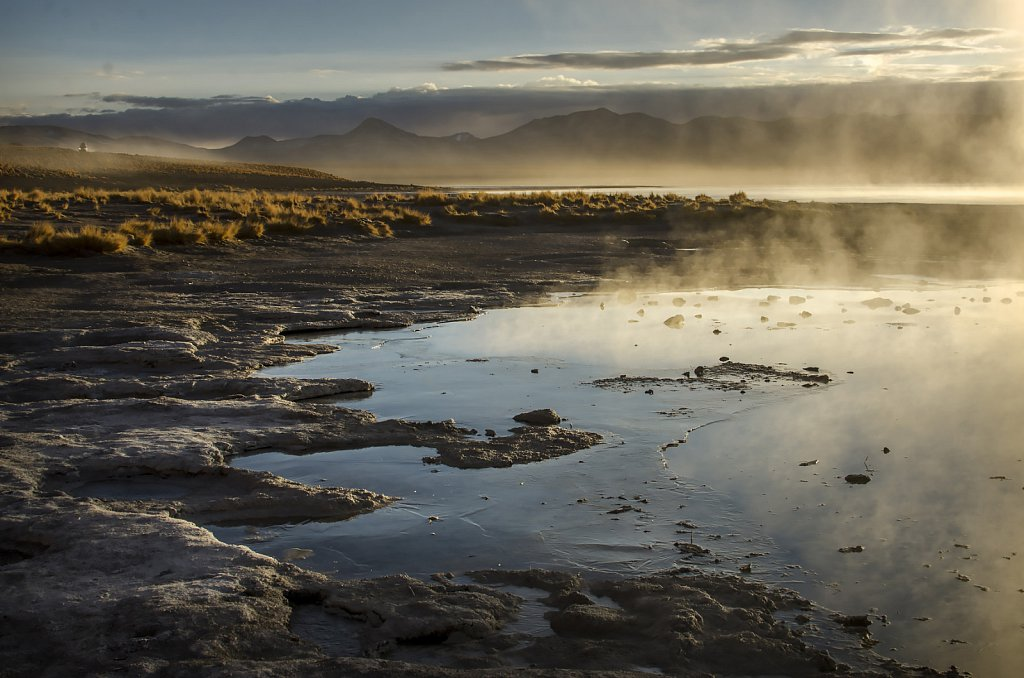 Hot springs in the morning, Altiplano, Bolivia