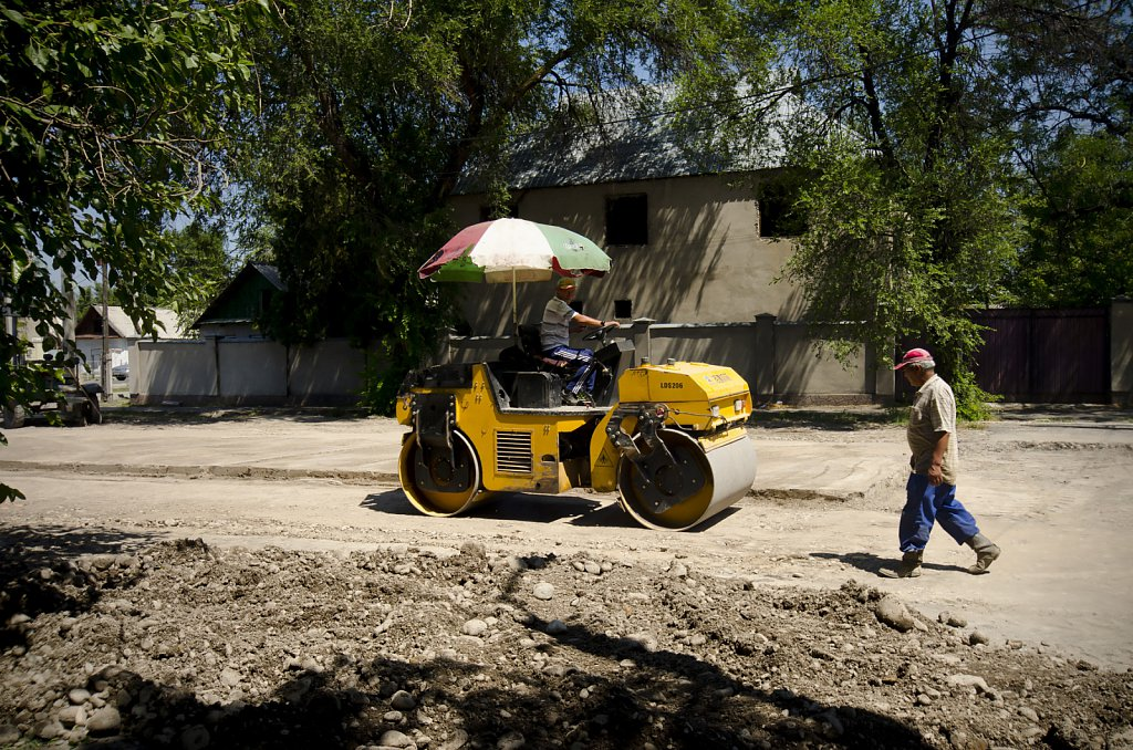Road construction in Bishkek