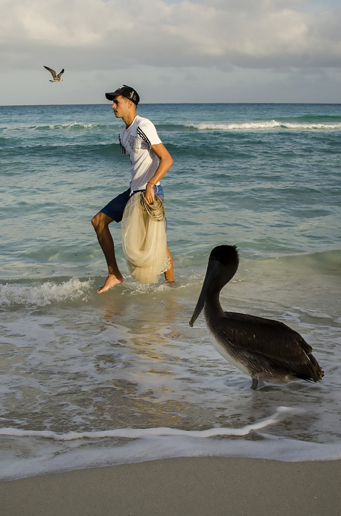 Fisherman and pelican at Varadero beach