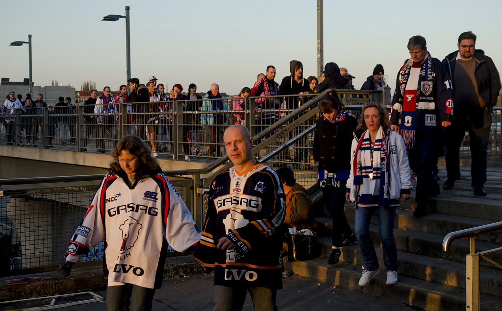 Fans of Eisbären Berlin ice hockey team don't look happy