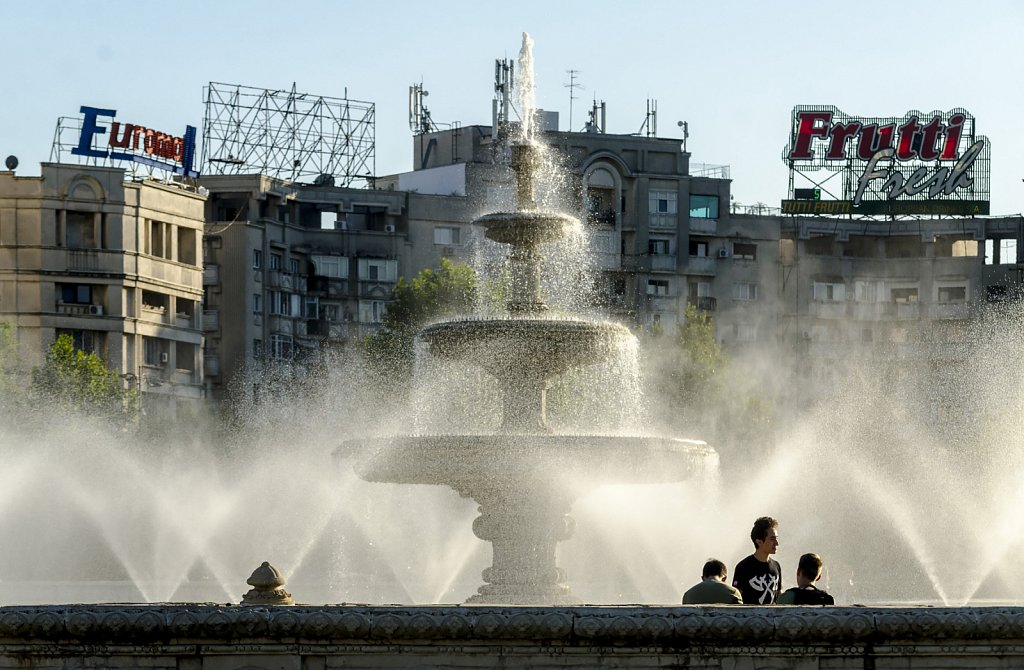 Fountain in downtown Bucharest