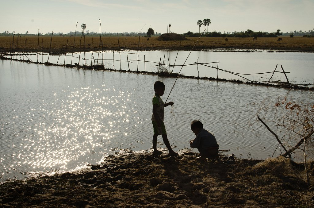 Boys fishing around Kampong Thom