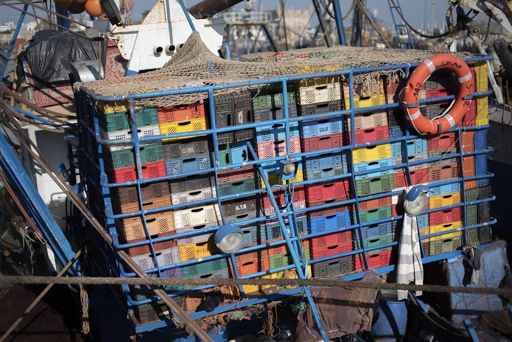 Essaouira port: Boxes to store fish