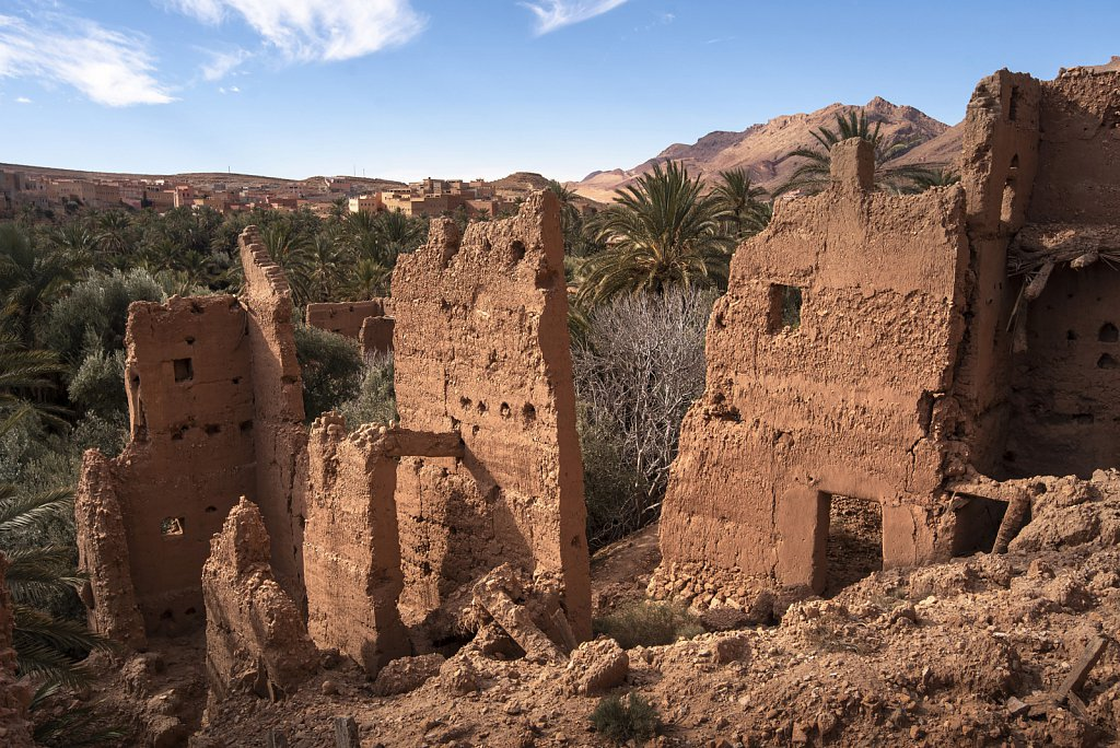 Ksar in ruins near Todra gorge